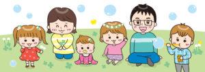 クローバー畑で遊ぶ家族のイラスト